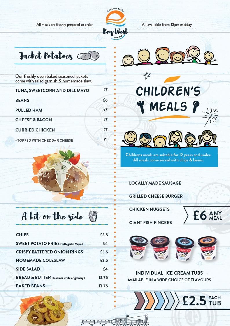 Key West restaurant Jacket potatoes & Children's meals