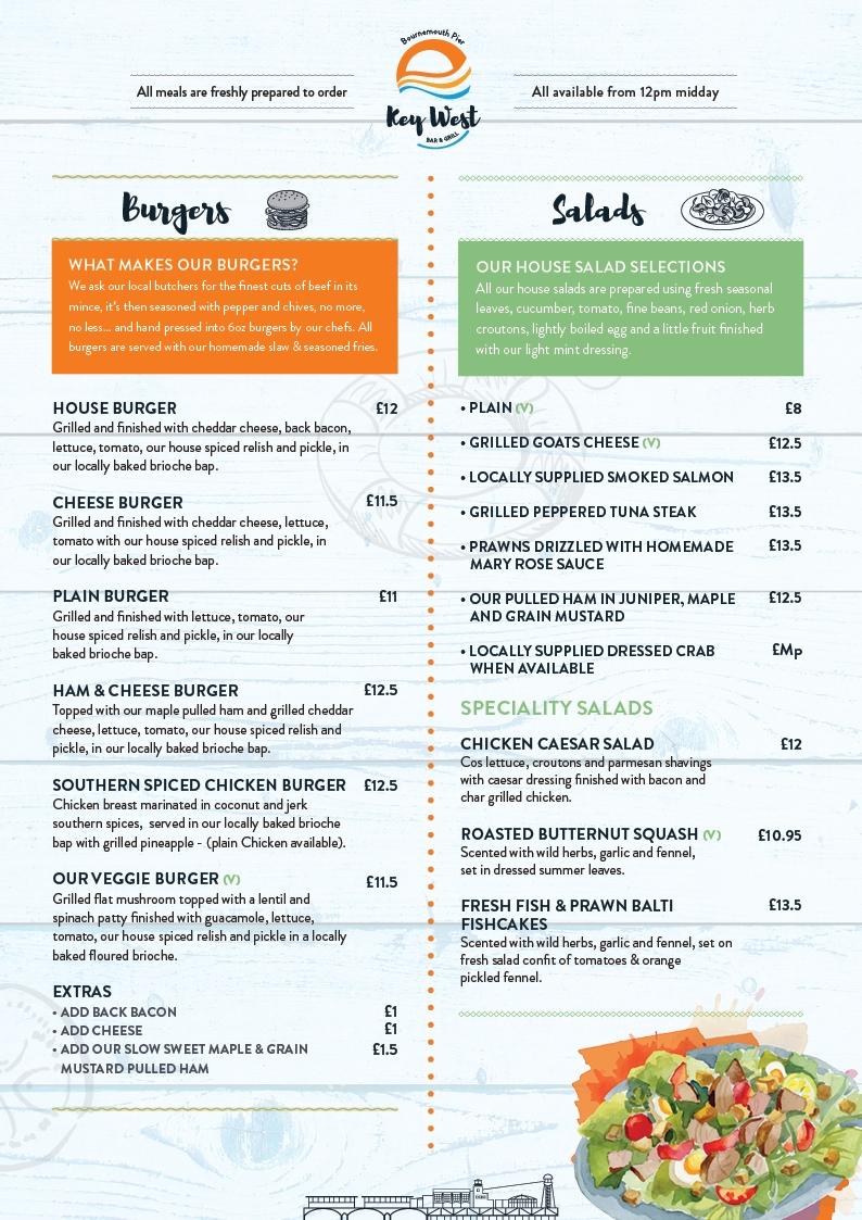 Key West restaurant Burgers & Salads menu