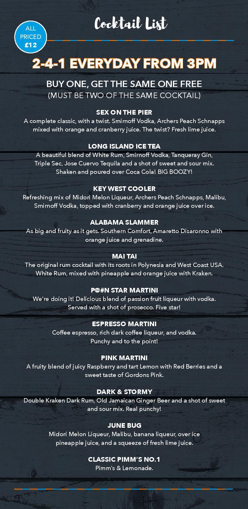 Key West Drinks Menu - Cocktails - Left Page